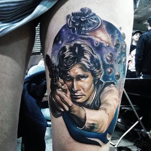 Star Wars Han Solo Tattoo By Samantha Storey Color Crimson Empire Tattoo