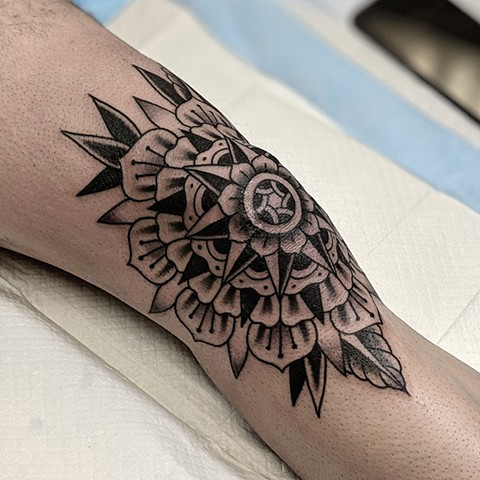 Mandala Knee Tattoo by Chris Benson Black and Grey Crimson Empire Tattoo