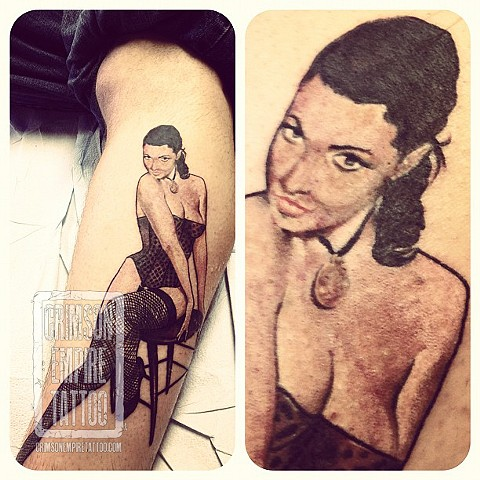 Pin Up Girl on forearm by Chad Clothier