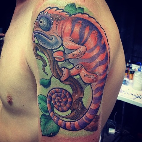 Chameleon Tattoo By Kyiel Cholik Color Crimson Empire Tattoo