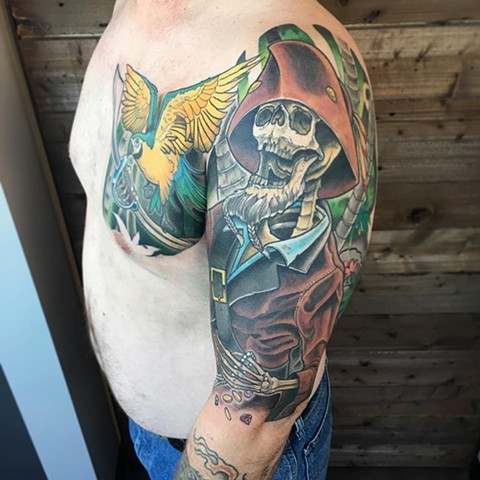 Skeleton Pirate And Parrot Tattoo By Curt Semeniuk Color Crimson Empire Tattoo