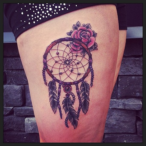 Dreamcatcher on thigh by Sydney Dyer
