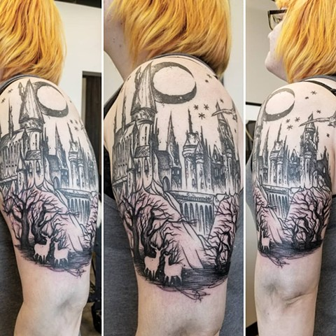 Harry Potter Inspired Hogwarts and Forest Tattoo By Adrienne Alexander Black Work Crimson Empire Tattoo
