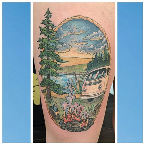 Camper Van Scenery Thigh Tattoo by Sheila Anderson color Crimson Empire Tattoo