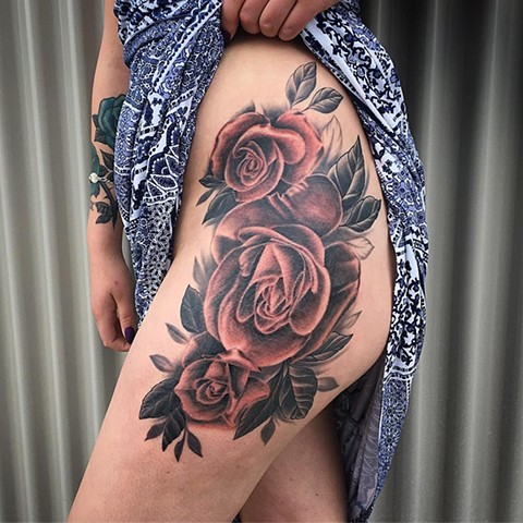 Roses Tattoo By Dale Moostoos Color Crimson Empire Tattoo