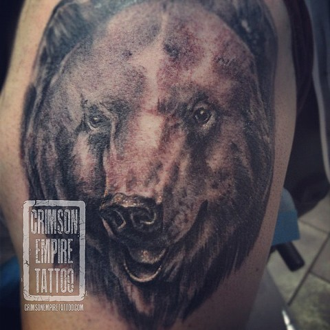 Bear on Thigh by Chad Clothier