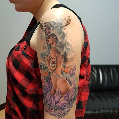 Girl With Bear Headdress And Crystals Tattoo By Kevin Sherritt Color Crimson Empire Tattoo