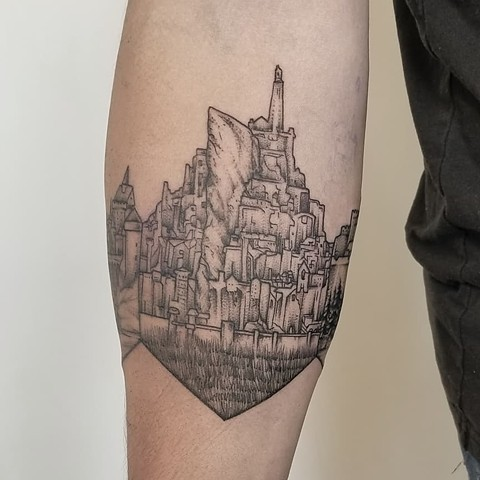 Fantasy Landscape Forearm Tattoo By Adrienne Alexander Black Work Crimson Empire Tattoo