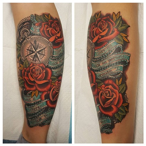 Compass And Roses Tattoo By Sheila Anderson Color Crimson Empire Tattoo
