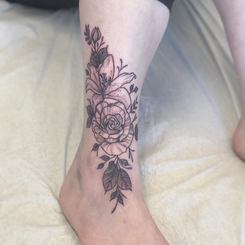 Floral Ankle Tattoo by Vanessa Spezowka Black and Grey Crimson Empire Tattoo