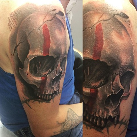 Skull With War Paint Tattoo By Samantha Storey Black And Grey With Color Crimson Empire Tattoo