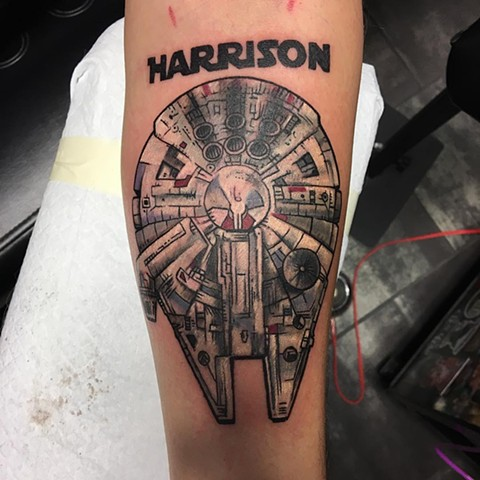 Star Wars Millennium Falcon Tattoo By Chris Labrenz Color Black Gold Tattoo Co