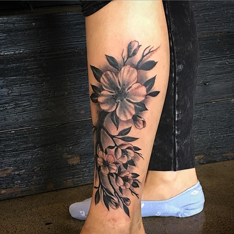 Floral Tattoo By Dale Moostoos Black And Grey Crimson Empire Tattoo
