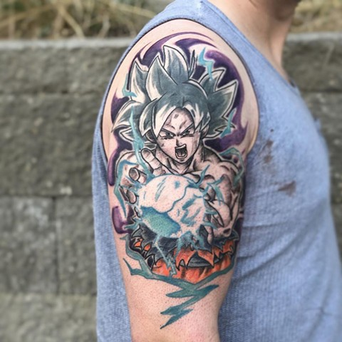 Dragon Ball Z Arm Tattoo by Vanessa Spezowka Color Crimson Empire Tattoo