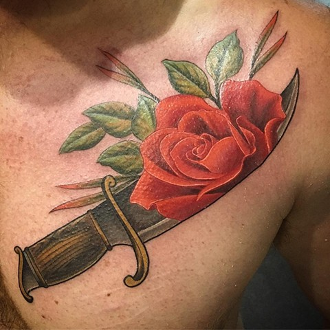 Knife And Rose Tattoo By Dale Moostoos Color Crimson Empire Tattoo