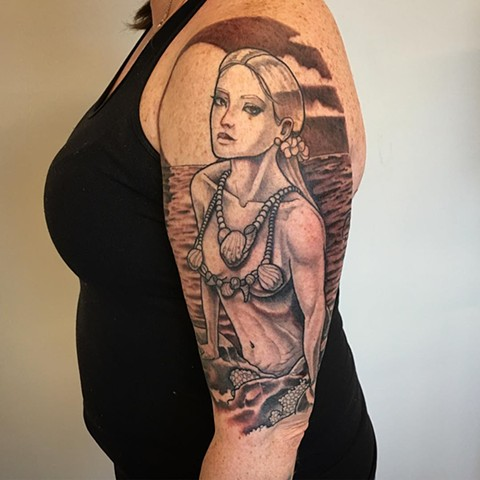 Mermaid Tattoo By Curt Semeniuk Black And Grey Crimson Empire Tattoo