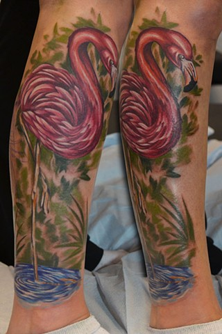 Flamingo Tattoo By Josh Lamoureux Color Crimson Empire Tattoo