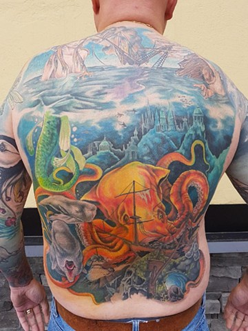 Underwater And Nautical Tattoo By Kevin Sherritt Color Crimson Empire Tattoo
