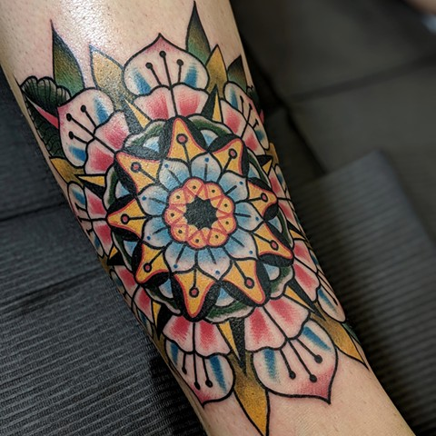 Traditional Mandala Tattoo by Chris Benson Color Crimson Empire Tattoo