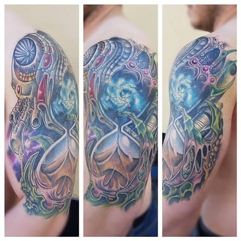 Bio Mechanical Space Hourglass Tattoo By Kevin Sherritt Color Crimson Empire Tattoo