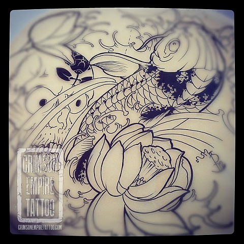 Koi and flower sketch by Jared Phair. Follow Jared @jroctizzle