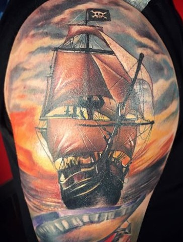 Pirate Ship Tattoo By Samantha Storey Color Crimson Empire Tattoo