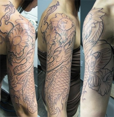 Dragon, Fish and Flower Half-Sleeve