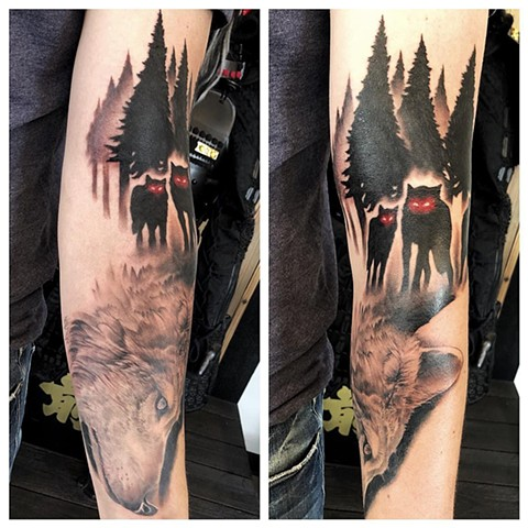 Wolves Tattoo By Chad Lavers Black And Grey With Color Crimson Empire Tattoo