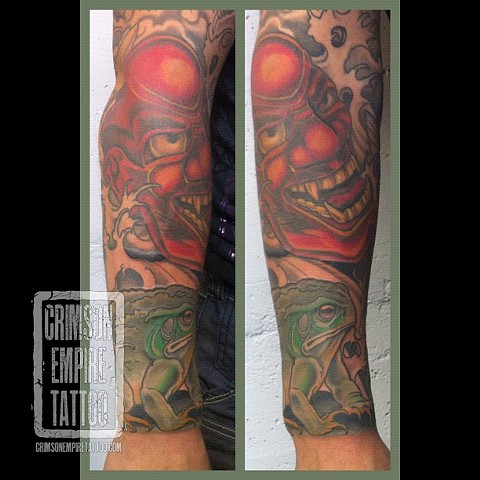 Noh mask and Frog on forearm by Curt Semeniuk
