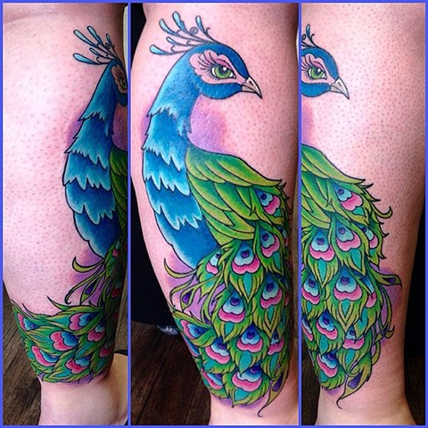 Peacock Tattoo By Jess Alther Color Black Gold Tattoo Co