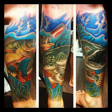 Jack Fish Going For Hook Tattoo By Kyiel Cholik Color Crimson Empire Tattoo