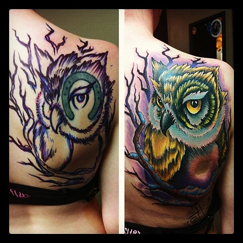 Owl Tattoo By Kyiel Cholik Color Crimson Empire Tattoo
