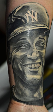 Derek Jeter Portrait Tattoo By Josh Lamoureux Black And Grey With Color Crimson Empire Tattoo