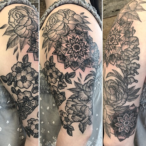 Mandala And Flowers Tattoo By Cheyanne Kot Pointillism Crimson Empire Tattoo