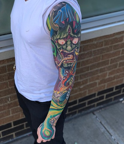 Japanese Mask Sleeve Tattoo by Curt Semeniuk Color Crimson Empire Tattoo