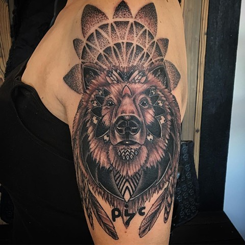 Bear with Geometric Arm Tattoo By Dale Moostoos Black and Grey Crimson Empire Tattoo