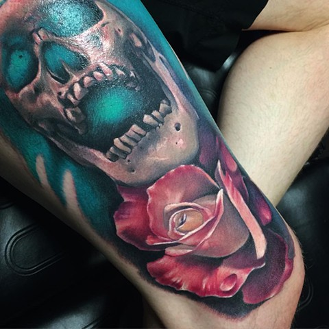 Skull And Rose Tattoo By Samantha Storey Color Crimson Empire Tattoo