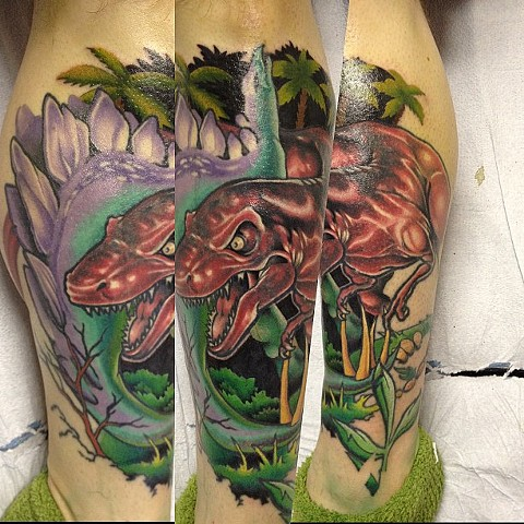 Dinosaur Tattoo By Marshall Khalil Color Crimson Empire Tattoo