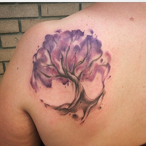 Watercolor Tree Tattoo By Sarah Michelle Black And Grey Black Gold Tattoo Co