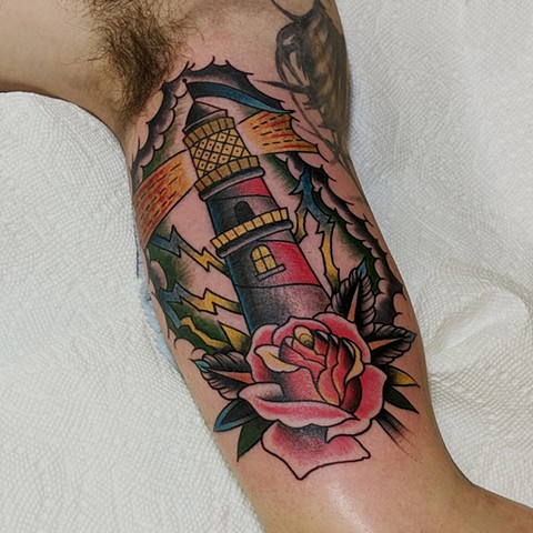 Traditional Lighthouse Arm Tattoo by Chris Benson Color Crimson Empire Tattoo