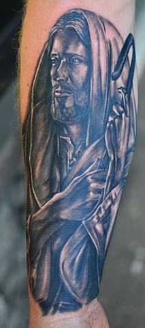 Jesus Tattoo By Josh Lamoureux Black And Grey Crimson Empire Tattoo