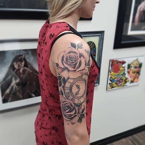 Roses And Clock Tattoo By Sasha Roussel Black And Grey Black Gold Tattoo Co
