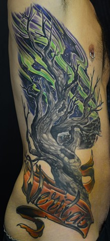 Northern Light And Tree With Script Tattoo By Josh Lamoureux Color Crimson Empire Tattoo