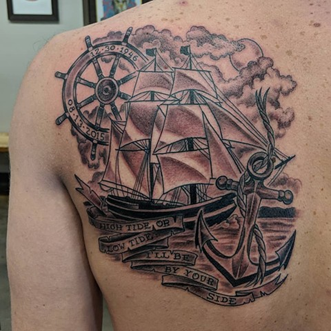 Ship Tattoo By Sheila Anderson Black And Grey Crimson Empire Tattoo
