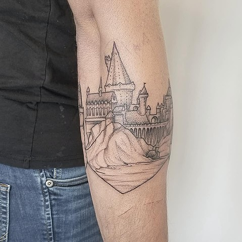 Castle Tattoo By Adrienne Alexander Crimson Empire Tattoo