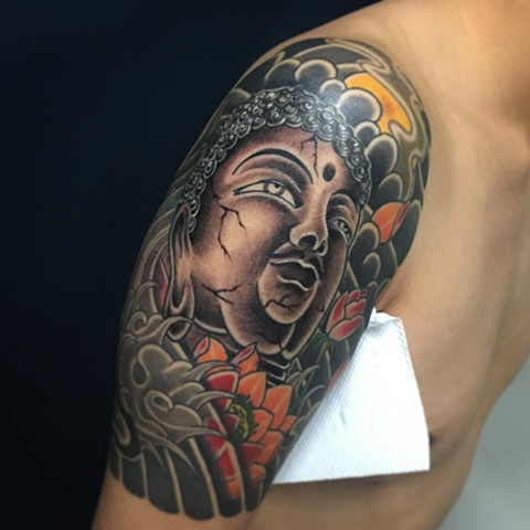 Buddha Tattoo By Guka Black And Grey With Color Black Gold Tattoo Co