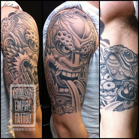 Ikazuchi mask on bicep by Curt Semeniuk. Follow Curt @ol_curty_bastard