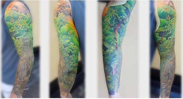 Tropical Nature Inspired Tattoo By Kevin Sherritt Color Crimson Empire Tattoo