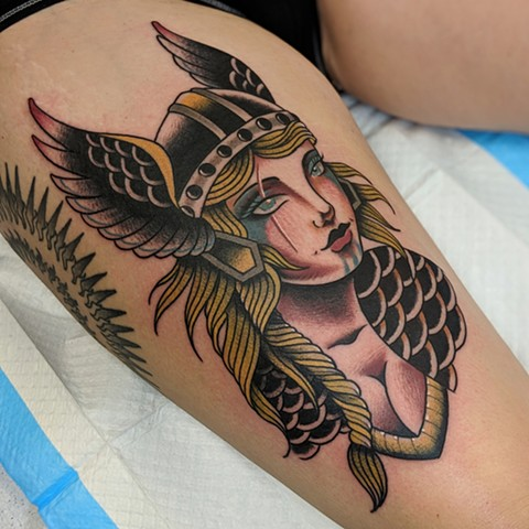 Traditional Viking Woman Thigh Tattoo by Chris Benson Color Crimson Empire Tattoo