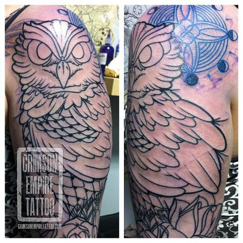 Owl on bicep by Jared Phair